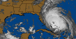 a weather map image showing a hurricane just off the east coast of Florida
