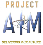 Project AIM logo consisting of an illustration with the words PROJECT (in a tan color), and AIM (in a varying (gradient) light to dark blue color) in the center with the NRC atom logo overlaying the I in the word AIM, and below the crosshairs the words Delivering Our Future