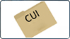a manila folder on a slight angle with the letters CUI in large black font