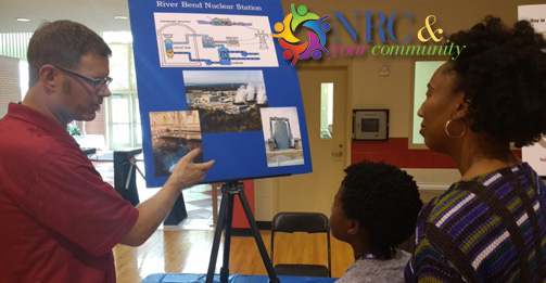 Jeff Sowa, the senior resident inspector at the River Bend nuclear power plant, discusses how a plant works and how the NRC does its job as part of the LA STEM Expo, in Baton Rouge, La.