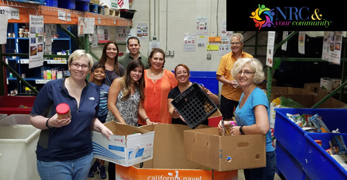 NRC staff volunteers presort donations at the Manna Food Center to help get provisions out quickly to neighbors experiencing food insecurity in the community. The Center's mission is to eliminate hunger in Montgomery County, Maryland, through food distribution, education and advocacy.