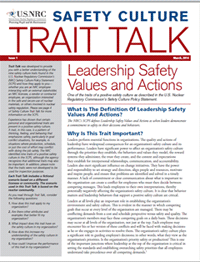 cover image of a copy of the Safety Culture Trait Talk newsletter - an educational tool developed to provide a better understanding of the nine safety culture traits found in the NRC's Safety Culture Policy Statement