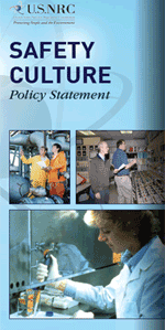 SCPS Brochure cover image consisting of the words SAFETY CULTURE Policy Statement on a blurred blue background
