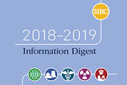 2018-2019 Information Digest text and NRC icon and below the title is artist symbols from left to right of the World icon, Nuclear Plan Icon, Medical Sign icon, Atomic Icon, World Eye ico