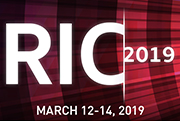 RIC 2019 – March 12-14, 2019 text with a red and black background with contracting column angled towards the right of the banner