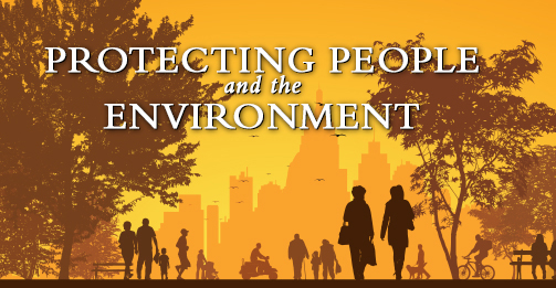 the words:'Protecting People and the Environment' on a fall-colored brown and tan background, over a silhouette image of a city park with tall buildings in the background, brown trees, and people wearing colder weather clothing, shown participating in Fall activities, i.e., jogging, walking dogs, bicycling, etc.