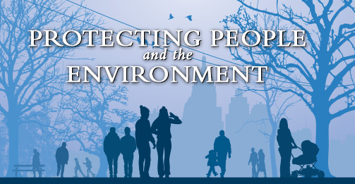 the words:'Protecting People and the Environment' on a winter-colored blue contrast background, over a silhouette image of a city park with tall buildings in the background, trees, birds in the sky, and people wearing winter weather clothing, shown participating in activities, i.e., a couple viewing the tall buildings, parent and child walking together, and mother with a stroller etc.