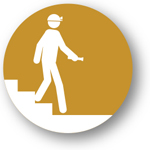 Plant Walkdowns, consisting of a round image with an artist's rendering of a man walking down stairs