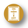 Mitigation Strategies icon, consisting of a tan circle with a white on/off switch in the middle, and the words 'on' and 'off' with the switch in the off position