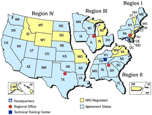 Map image of U.S., showing NRC Regions relating to Plant-specific correspondence, evaluations, and responses concerning reactor coolant system weld issues