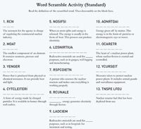 Word Scrambler Student Worksheet, consisting of the title: Word Scramble (Standard), and the words: Read the definition of the scrambled word. Then descramble on the blank lines. Consisting of a numbered list of 13 scrambled words with their definitions