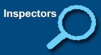 navigational icon consisting of the word Inspectors in white text on a blue colored background with a light-blue silhouette of a magnifying glass; hyperlink to NRC Flickr Inspectors photo album