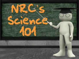 Image of a blackboard with a professor-person figure wearing a graduation cap and holding a pointer to the blackboard and with the words NRC's Science 101
