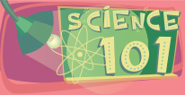 Science 101 navigational icon consisting of the words Science 101 with an image of an industrial type light with shade shining on a board with the words Science 101 and an atom symbol; hyperlink to Students Corner Science 101 page