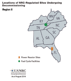 Locations of NRC-Regulated Sites Undergoing Decommissioning - Region 2