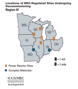 Locations of NRC-Regulated Sites Undergoing Decommissioning - Region 3