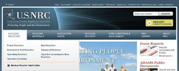 Screenshot of NRC public site banner showing navigation tabs and drop-down menus for primary information categories