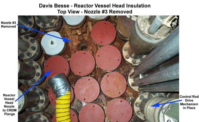Davis Besse Reactor Vessel Head Top View with Nozzle #3 Removed (Overhead View)