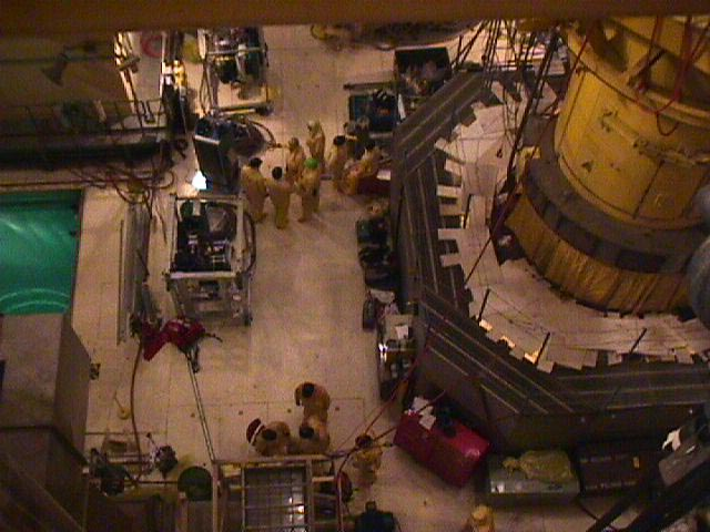 Looking Down at the Davis Besse Reactor Head Inspection Area