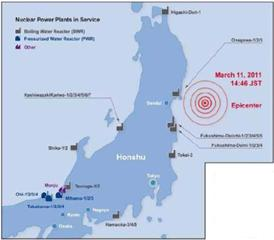 Image of Fukushima showing Epicenter of the Quake
