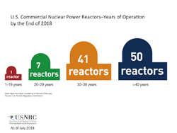 An illustration of Commercial Nuclear Power Reactors-Years of Operation by the End of 2018, showing four colored (red, green, rust, navy), reactor silhouettes, grouped by years of operation (1-19 years (1); 20-29 years (7); 30-39 years (41), and > 40 years (50), with the silhouette images starting small (red), and each one getting progressively bigger with the amount of years, and the title: U.S. Commercial Nuclear Power Reactors-Years of Operation by the End of 2018