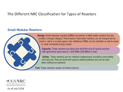 An Illustration diagram for The Different NRC Classification for Types of Reactors, consisting of: Small Modular Reactors heading, with four classifications below: Design: Small modular reactors (SMRs) are similar to light-water reactors but are smaller, compact designs. These factory-fabricated reactors can be transported by truck or rail to a nuclear power site. Additional SMRs can be installed on site to scale or meet increased energy needs; Capacity: These reactors are about one-third the size of typical reactors with generation base load of 1,000 MWt (300 MWe) or less; Safety: These reactors can be installed underground, providing more safety and security. They are built with passive safety systems and can be shut down without an operator; and Fuel: These reactors require enriched uranium. The title: 'The Different NRC Classification for Types of Reactors' appears above the image.