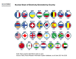 Illustration showing 30 small circles.  Within each circle is a country's flag, and below the circle/flag image is the nuclear share of electricity generated by that country in decending order: France 71.6%; Ukraine 55.1%; Slovakia 54%; Hungary 50%; Belgium 49.9%; Sweden 39.6%; Slovenia 39.1%; Bulgaria 34.3%; Switzerland 33.4%; Finland 33.2%; Czech Rep. 33.1%; Armenia 32.5%; Rep. Korea 27.1%; Spain 21.2%; USA 20%; United Kingdom 19.3%; Russia 17.8%; Romania 17.6%; Canada 14.6%; Germany 11.6%; S. Africa 6.7%; Pakistan 6.2%; Mexico 6.0%; Argentian 4.5%; China 3.9%; Japan 3.6%; India 3.2%; Netherlands 2.9%; Brazil 2.7%; Iran 2.2%.  Centered above the image is the title: Nuclear Share of Electricity Generated by Country