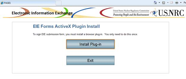 Windows screen shot of the EIE Forms ActiveX Plugin Install panel showing an Install Plug-in button and an Exit button