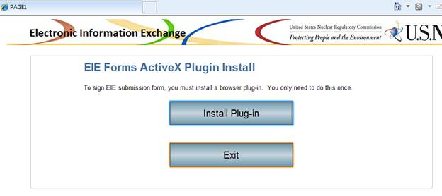 Windows screen shot of the EIE Forms ActiveX Plugin Install panel showing an Install Plug-in button and an Exit button; just click on Exit to close the install window